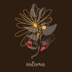 Fototapete - Autumn artistic banner. Dry leaves fall background