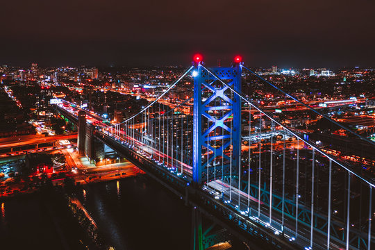 Aerial of Nigh Time Philly Ben Franklin Bridge