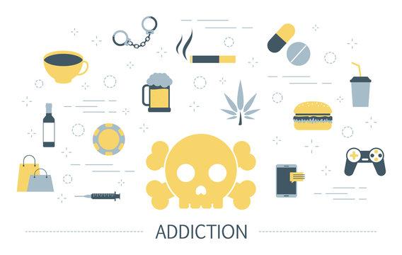 Addiction concept. Social, computer and drug addiction