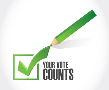 Your vote counts Approval check  mark message concept