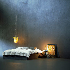 modern bed in minimalistic black vintage environment