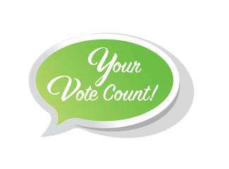 Your vote countsbright message bubble