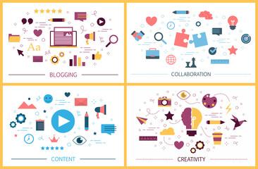 Blogging concept set. Idea of social media and network.