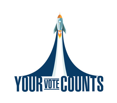 Your vote counts rocket smoke message