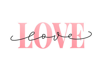 Love word hand drawn lettering. Modern calligraphy. Grunge vector illustration. Design for print on shirt, poster, banner. Pink color text on white background.