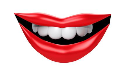 3D render illustration. Smiling lips on white background