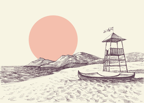 Lifeguard tower on the beach drawing