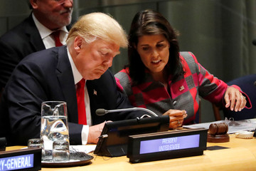U.S. President Donald Trump and U.N. Ambassador Nikki Haley attend United Nations Global Call to Action on the World Drug Problem during the 73rd United Nations General Assembly in New York