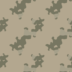 UFO military camouflage seamless pattern in different shades of beige and green colors
