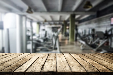 Table background of free space and gym interior.