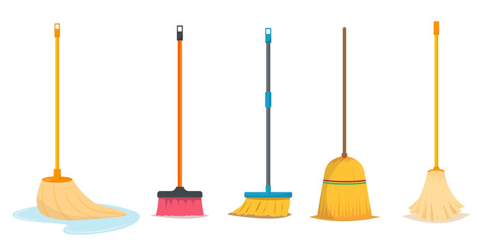 Mop and broom for cleaning