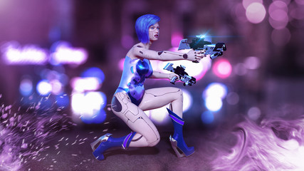 Cyborg girl armed with guns crouching, female battle robot shooting, sci-fi android woman in the night city street, 3D rendering