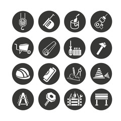 construction tool icon set in circle buttons