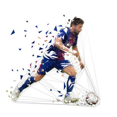 Football player in dark blue jersey running with ball, abstract low poly vector drawing. Soccer player kicking ball. Isolated geometric colorful illustration, side view