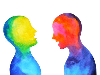 human speaking listening power of mastermind together world universe inside your mind, watercolor painting hand drawn