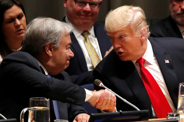 "U.S. President Trump greets UN Secretary-General Guterres during ""Global Call to Action on the World Drug Problem"" event at the United Nations in New York"