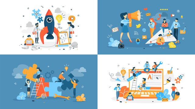 Set of start up illustration with people