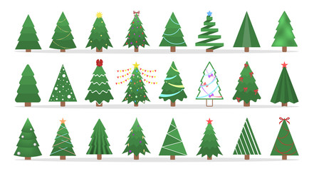 Cute green christmas tree of different shape set.