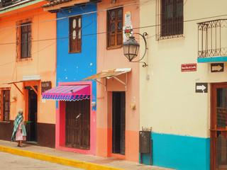 Colorful colonial houses in San Cristobal de las casas, Mexico