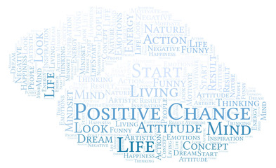Positive Change word cloud, made with text only.