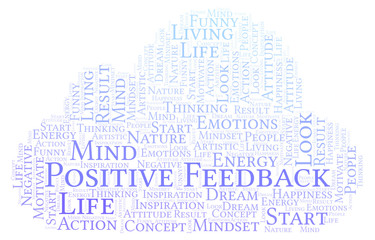 Positive Feedback word cloud, made with text only.