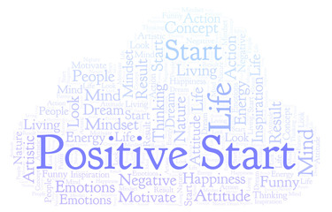 Positive Start word cloud, made with text only.