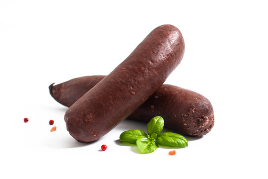 Food concept Raw Blood pudding black sausages on white backgroud