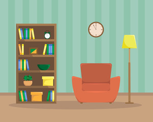 Flat illustration of reading room. with an armchair, bookcase and floor lamp.