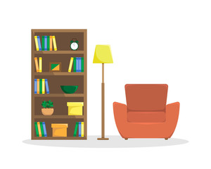 Flat illustration of reading room