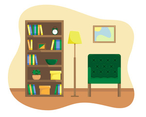 Flat illustration of reading room