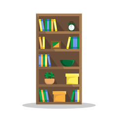 Flat illustration of a cozy bookcase with books, clock, plants and boxes.