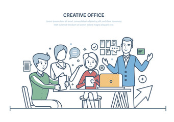 Creative office. Workers meeting, office business team, partnership.