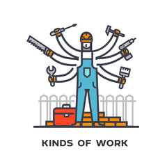 Hiring a worker, repairing a house, a multi-armed man with tools.
