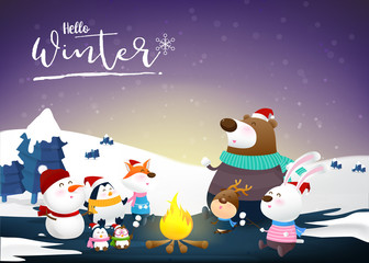 Hello winter with animal cartoon and night snow 002