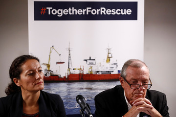 Sophie Beau, Vice-President of the International Network of SOS Mediterranee, and Francis Vallat, President of SOS Mediterranee France, attend a news conference about the Aquarius after Panama revoked their registration in Paris