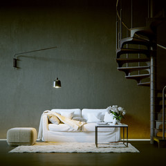 sofa in black vintage loft environment with spiral stairs