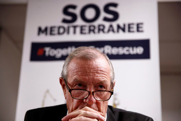 Francis Vallat, President of SOS Mediterranee France, attends a news conference about the Aquarius after Panama revoked their registration in Paris