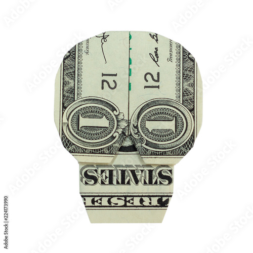 Money Origami Skull Folded With Real One Dollar Bill Isolated On