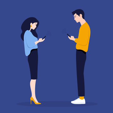 A woman and a man stand in profile and look in their phones. Smartphones and technologies. Communication. Vector Flat Illustration