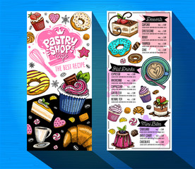 Pastry shop cafe menu template. Colorful logo design label, emblem. Lettering, sweets, cakes, croissant, candy, cookie colorful, splash, coffee, doodle, yummy. Hand drawn vector