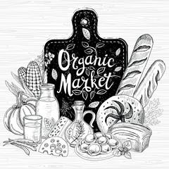Organic market, logo design, healthy food shop. Vegetables, fruits, meat, milk, eggs, bread. Organic food set. Good nutrition. Hand drawn vector.