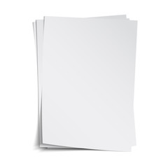 Stack of blank sheets with shadow, vector template, isolated on white