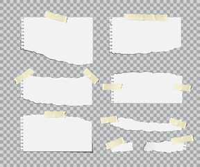 Blanc torn paper sheets with adhesive tapes set. Vector realistic design elements.