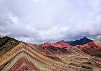 Poster landscape of mountains, rainbow mountain