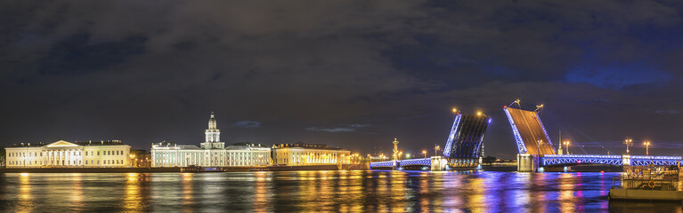 Saint Petersburg panorama night city skyline at Palace Bridge, Saint Petersburg, Russia