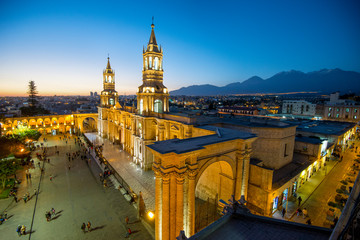 The Basilica Cathedral of Arequipa on sunset