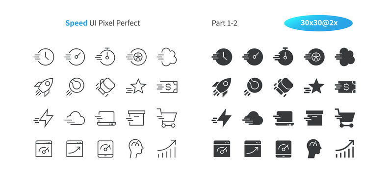 Speed UI Pixel Perfect Well-crafted Vector Thin Line And Solid Icons 30 2x Grid for Web Graphics and Apps. Simple Minimal Pictogram Part 1-2