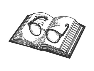 Glasses on book engraving vector illustration. Scratch board style imitation. Black and white hand drawn image.