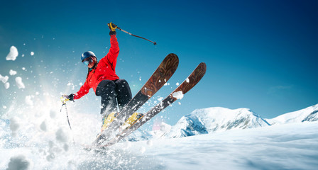 Skiing. Jumping skier. Extreme winter sports. Wall mural