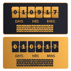 Luxury golden countdown clock digits board New year, Christmas or shopping sale timer. Rich gold number counter template banner, all digits with flips included.